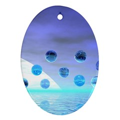 Moonlight Wonder, Abstract Journey To The Unknown Oval Ornament (two Sides) by DianeClancy