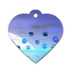 Moonlight Wonder, Abstract Journey To The Unknown Dog Tag Heart (two Sided) by DianeClancy