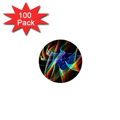 Aurora Ribbons, Abstract Rainbow Veils  1  Mini Button (100 Pack) by DianeClancy