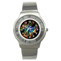 Aurora Ribbons, Abstract Rainbow Veils  Stainless Steel Watch (slim) by DianeClancy