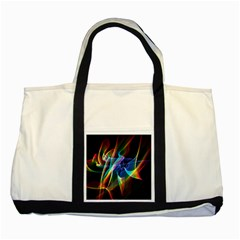 Aurora Ribbons, Abstract Rainbow Veils  Two Toned Tote Bag by DianeClancy