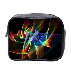 Aurora Ribbons, Abstract Rainbow Veils  Mini Travel Toiletry Bag (two Sides) by DianeClancy