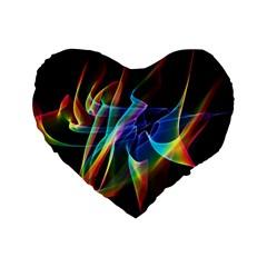 Aurora Ribbons, Abstract Rainbow Veils  16  Premium Heart Shape Cushion  by DianeClancy
