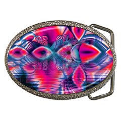 Cosmic Heart Of Fire, Abstract Crystal Palace Belt Buckle (oval) by DianeClancy