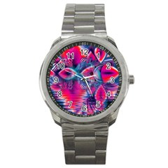 Cosmic Heart Of Fire, Abstract Crystal Palace Sport Metal Watch by DianeClancy