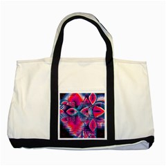 Cosmic Heart Of Fire, Abstract Crystal Palace Two Toned Tote Bag by DianeClancy
