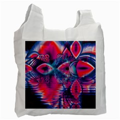 Cosmic Heart Of Fire, Abstract Crystal Palace White Reusable Bag (two Sides) by DianeClancy