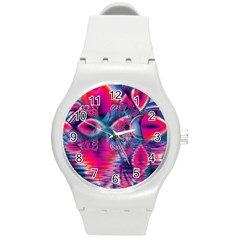 Cosmic Heart of Fire, Abstract Crystal Palace Plastic Sport Watch (Medium)