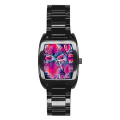 Cosmic Heart Of Fire, Abstract Crystal Palace Stainless Steel Barrel Watch by DianeClancy