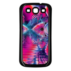 Cosmic Heart Of Fire, Abstract Crystal Palace Samsung Galaxy S3 Back Case (black) by DianeClancy