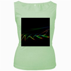 Flowing Fabric Of Rainbow Light, Abstract  Women s Tank Top (green) by DianeClancy