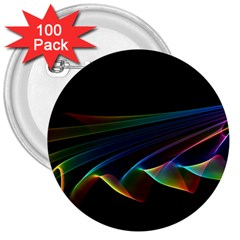 Flowing Fabric Of Rainbow Light, Abstract  3  Button (100 Pack) by DianeClancy