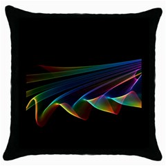 Flowing Fabric Of Rainbow Light, Abstract  Black Throw Pillow Case by DianeClancy