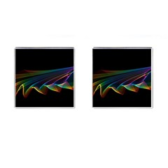 Flowing Fabric Of Rainbow Light, Abstract  Cufflinks (square) by DianeClancy