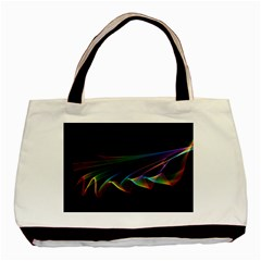 Flowing Fabric Of Rainbow Light, Abstract  Twin Sided Black Tote Bag by DianeClancy