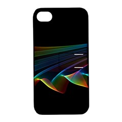 Flowing Fabric Of Rainbow Light, Abstract  Apple Iphone 4/4s Hardshell Case With Stand by DianeClancy