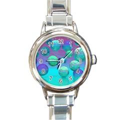 Ocean Dreams, Abstract Aqua Violet Ocean Fantasy Round Italian Charm Watch by DianeClancy