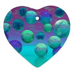 Ocean Dreams, Abstract Aqua Violet Ocean Fantasy Heart Ornament by DianeClancy