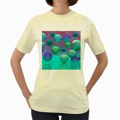 Ocean Dreams, Abstract Aqua Violet Ocean Fantasy Women s T Shirt (yellow) by DianeClancy
