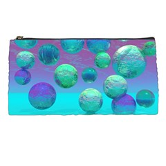 Ocean Dreams, Abstract Aqua Violet Ocean Fantasy Pencil Case by DianeClancy