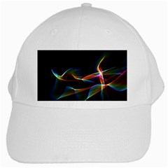 Fluted Cosmic Rafluted Cosmic Rainbow, Abstract Winds White Baseball Cap by DianeClancy