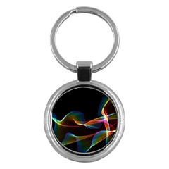 Fluted Cosmic Rafluted Cosmic Rainbow, Abstract Winds Key Chain (Round) by DianeClancy
