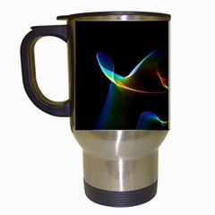 Fluted Cosmic Rafluted Cosmic Rainbow, Abstract Winds Travel Mug (white) by DianeClancy