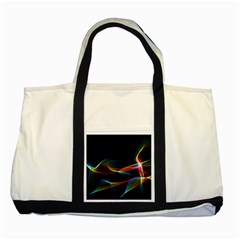 Fluted Cosmic Rafluted Cosmic Rainbow, Abstract Winds Two Toned Tote Bag by DianeClancy