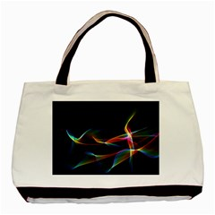 Fluted Cosmic Rafluted Cosmic Rainbow, Abstract Winds Twin Sided Black Tote Bag by DianeClancy