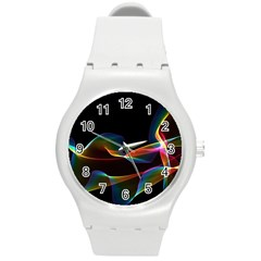Fluted Cosmic Rafluted Cosmic Rainbow, Abstract Winds Plastic Sport Watch (medium) by DianeClancy