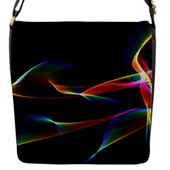 Fluted Cosmic Rafluted Cosmic Rainbow, Abstract Winds Flap Closure Messenger Bag (small) by DianeClancy
