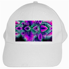 Teal Violet Crystal Palace, Abstract Cosmic Heart White Baseball Cap