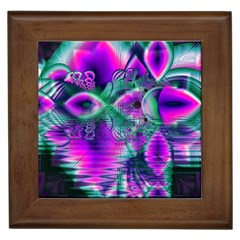 Teal Violet Crystal Palace, Abstract Cosmic Heart Framed Ceramic Tile by DianeClancy