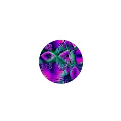 Teal Violet Crystal Palace, Abstract Cosmic Heart 1  Mini Button Magnet by DianeClancy