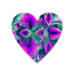 Teal Violet Crystal Palace, Abstract Cosmic Heart Magnet (heart) by DianeClancy