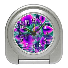 Teal Violet Crystal Palace, Abstract Cosmic Heart Desk Alarm Clock