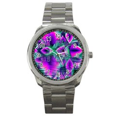 Teal Violet Crystal Palace, Abstract Cosmic Heart Sport Metal Watch by DianeClancy