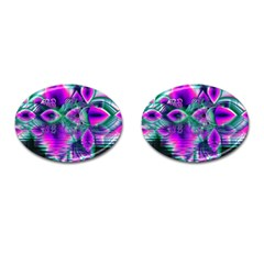 Teal Violet Crystal Palace, Abstract Cosmic Heart Cufflinks (oval) by DianeClancy