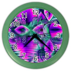 Teal Violet Crystal Palace, Abstract Cosmic Heart Wall Clock (Color)