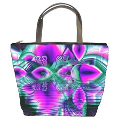 Teal Violet Crystal Palace, Abstract Cosmic Heart Bucket Handbag by DianeClancy