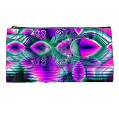 Teal Violet Crystal Palace, Abstract Cosmic Heart Pencil Case by DianeClancy