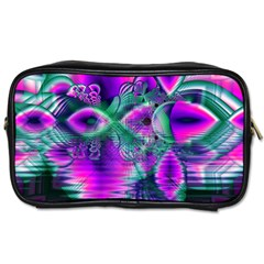 Teal Violet Crystal Palace, Abstract Cosmic Heart Travel Toiletry Bag (two Sides) by DianeClancy
