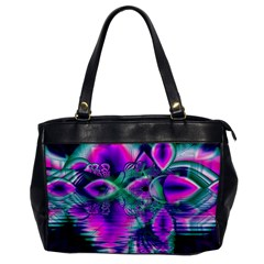 Teal Violet Crystal Palace, Abstract Cosmic Heart Oversize Office Handbag (one Side) by DianeClancy