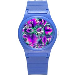 Teal Violet Crystal Palace, Abstract Cosmic Heart Plastic Sport Watch (small) by DianeClancy