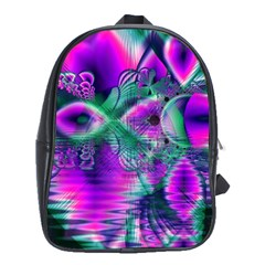 Teal Violet Crystal Palace, Abstract Cosmic Heart School Bag (xl) by DianeClancy