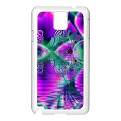 Teal Violet Crystal Palace, Abstract Cosmic Heart Samsung Galaxy Note 3 N9005 Case (white) by DianeClancy