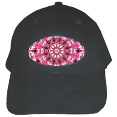 Twirling Pink, Abstract Candy Lace Jewels Mandala  Black Baseball Cap by DianeClancy