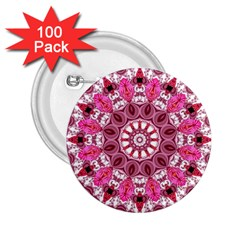 Twirling Pink, Abstract Candy Lace Jewels Mandala  2 25  Button (100 Pack) by DianeClancy