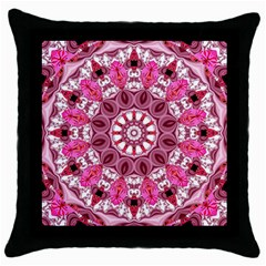 Twirling Pink, Abstract Candy Lace Jewels Mandala  Black Throw Pillow Case by DianeClancy