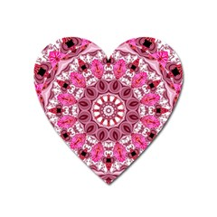 Twirling Pink, Abstract Candy Lace Jewels Mandala  Magnet (heart) by DianeClancy